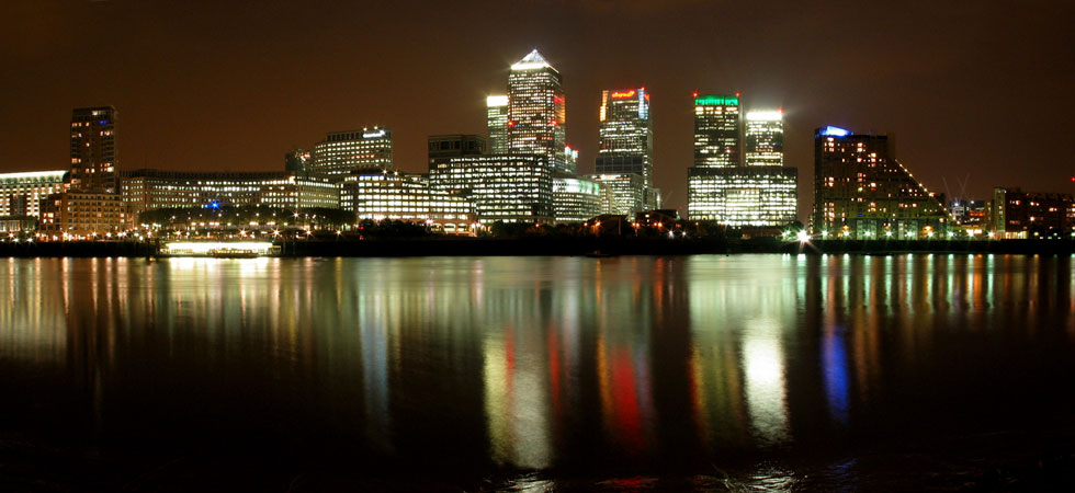 Canary Wharf. Night view.